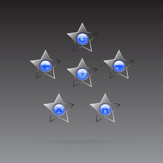 Vector glass star browser buttons set on dark background - vector gratuit #130026