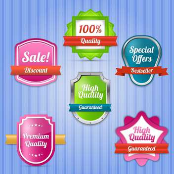 Vector set of colorful labels for sale on striped blue background - vector #130036 gratis