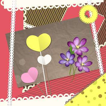 Valentine card with retro scrapbooking elements - vector #130136 gratis
