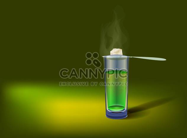 Vector illustration of glass with absinthe on green background - Kostenloses vector #130186