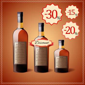alcohol bottles discount price tags - vector gratuit #130306