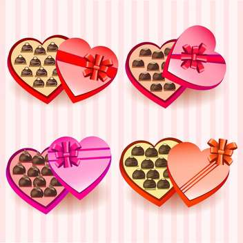 Set with heart valentine chocolate boxes - vector gratuit #130396