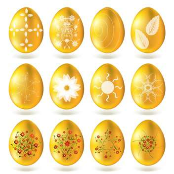 Golden eggs isolated on white background. - Free vector #130416