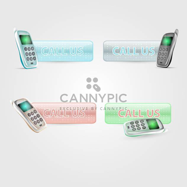 Set with Call us vector buttons, isolated on white background - Free vector #130476
