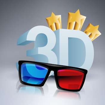 3D movie glasses with vector stars - vector gratuit #130516