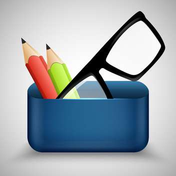 Vector illustration of eyeglasses and two pencils - vector gratuit #130526