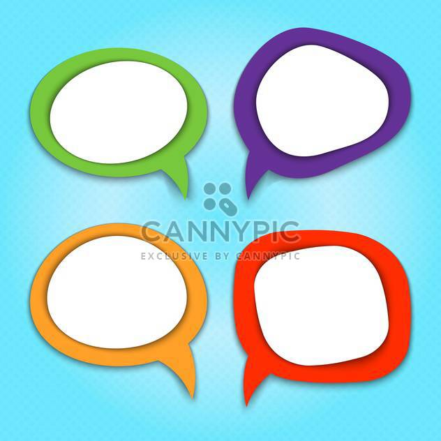 Vector set of colorful speech bubbles on blue background - Free vector #130546