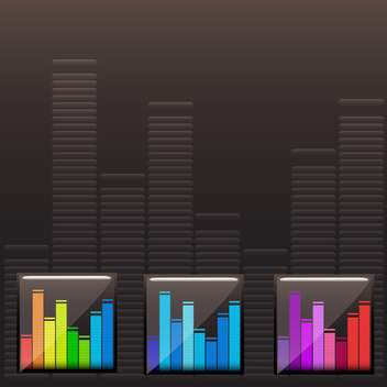 Vector colorful music spectrum set on black background - бесплатный vector #130636
