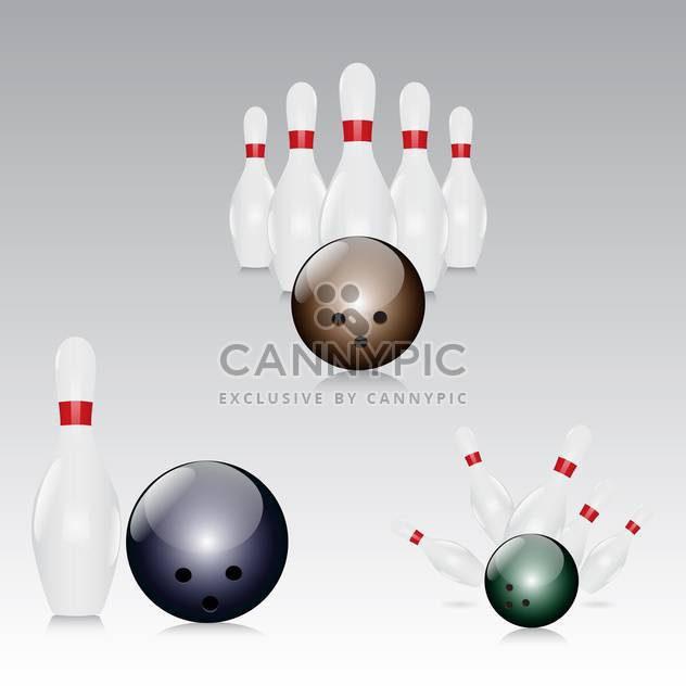 vector illustration of skittles with bowling balls on grey background - Free vector #130646
