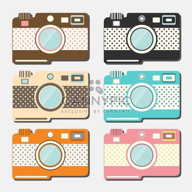 old style photo cameras collection on grey background - Kostenloses vector #130656