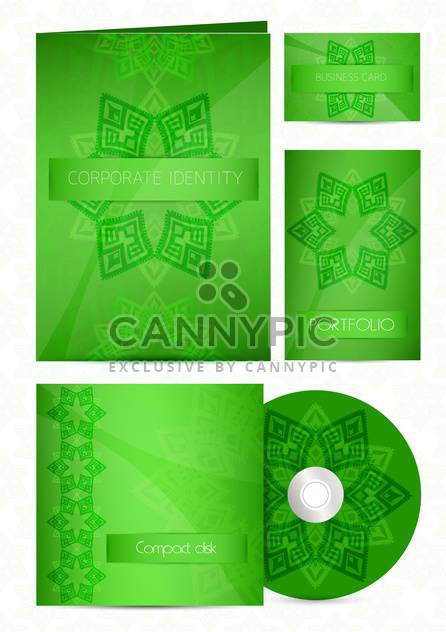 Stationery green color design set - Free vector #130666