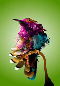 Vector illustration of colorful bird on green background - бесплатный vector #130686