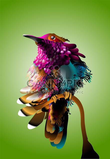 Vector illustration of colorful bird on green background - Free vector #130686