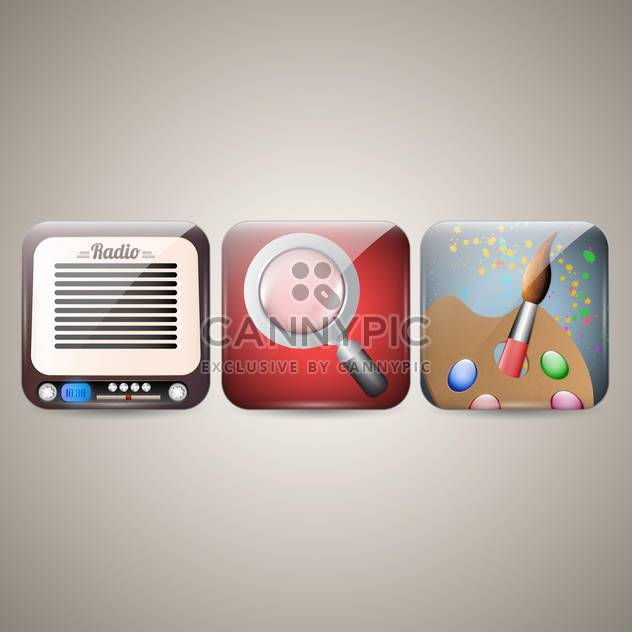 vector illustration of mobile phone icons on grey background - Free vector #130696