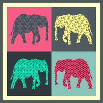 vector colorful cards with elephant - vector #130716 gratis