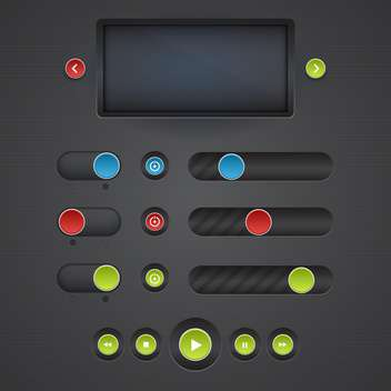 Vector set of media buttons on dark background - vector #130736 gratis