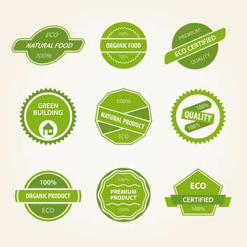 vector set of green organic labels on beige background - vector gratuit #130746