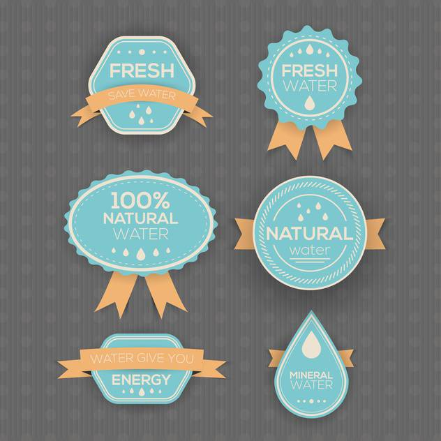 drinking and mineral water labels on grey background - Free vector #130756