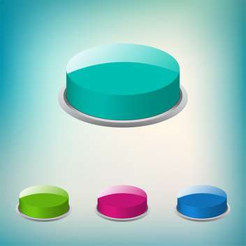 Set of vector round shaped buttons - vector gratuit #130776