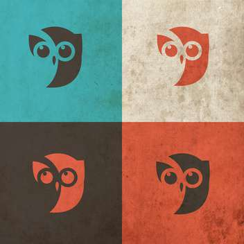 Owl head icon art illustration - vector gratuit #130866