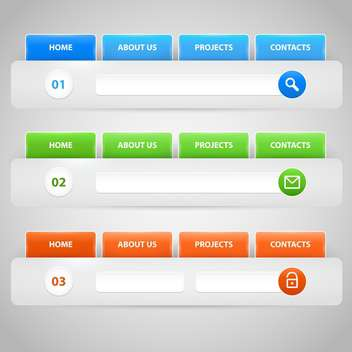 Web site design template navigation elements with icons set - vector #131056 gratis