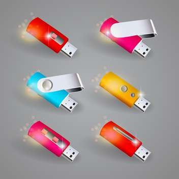 Vector set of color USB flash drives - Free vector #131126