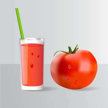 Tomato and a glass of tomato juice - vector gratuit #131136