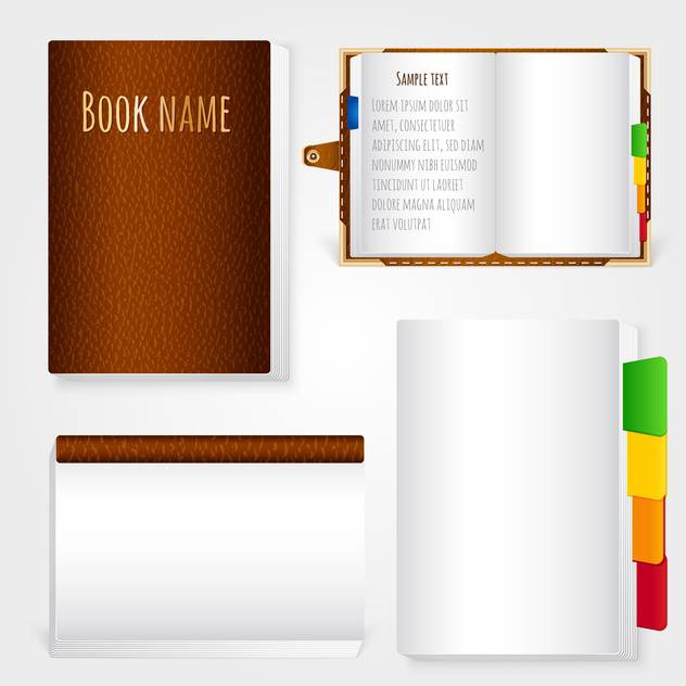 Set of brown leather notebook on white background - Free vector #131186
