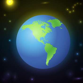 Earth in open space view vector illustration - Free vector #131206