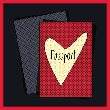 Heart passport cover vector illustration - vector #131266 gratis