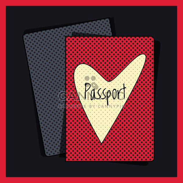 Heart passport cover vector illustration - Free vector #131266