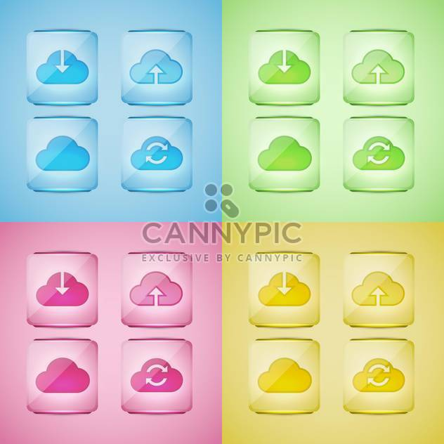 Set of cloud icons vector illustration - Free vector #131326