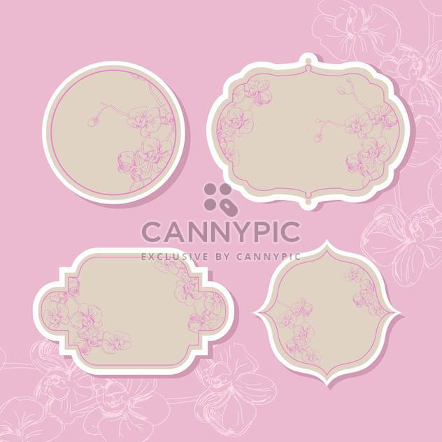 Collection of floral retro grunge labels, banners and emblems - Free vector #131356