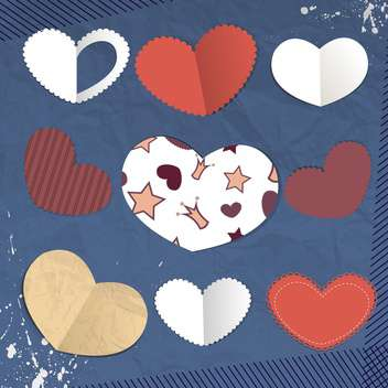 Vector paper hearts cards with space for text - vector gratuit #131466