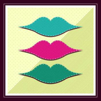 Retro illustration of lips set - vector gratuit #131616
