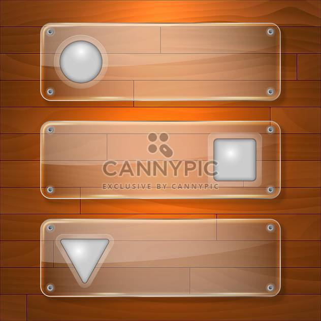 Vector glass banners on wooden background - Free vector #131686