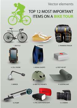 Top 12 most important items on a bike tour vector set - vector gratuit #131736