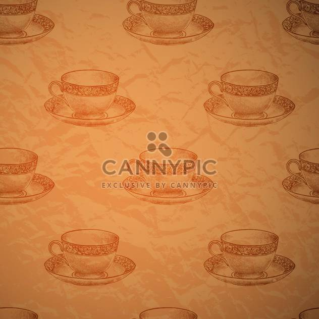 Vector vintage seamless background with cups - Free vector #131776