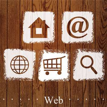 Vector set of web social icons on wooden background - vector #131786 gratis