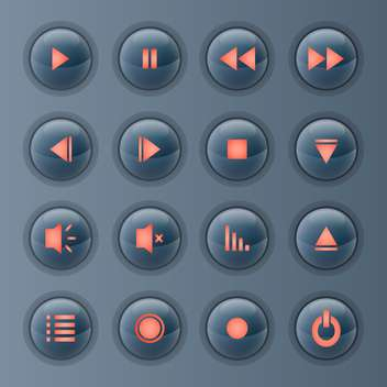 Vector set of media player icons on grey background - бесплатный vector #131806