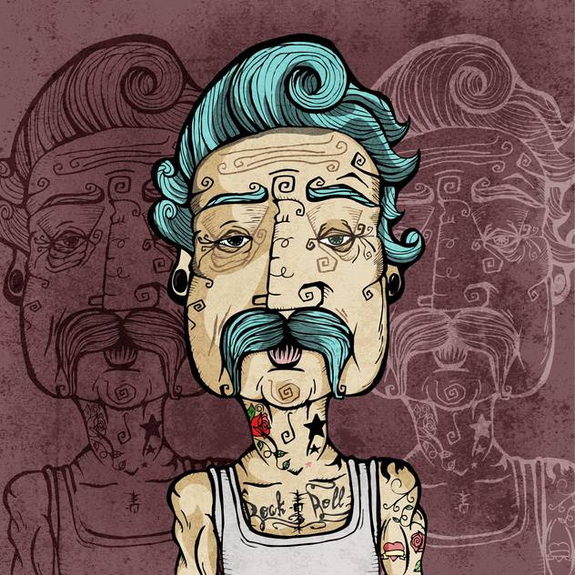 Portrait of a man with mustaches and tattoos vector illustration. - vector gratuit #131846