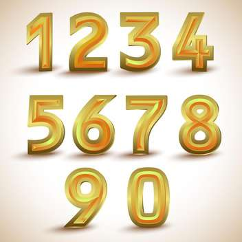 Vector set of gold numbers from one to null - Free vector #131966