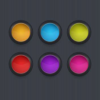 Colored round vector icons on dark background - бесплатный vector #131986