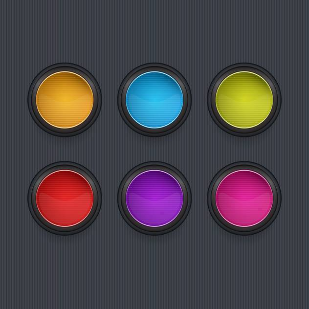 Colored round vector icons on dark background - vector gratuit #131986