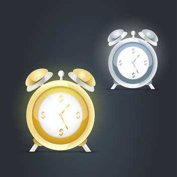 Alarm clocks icons on dark background - vector #132006 gratis
