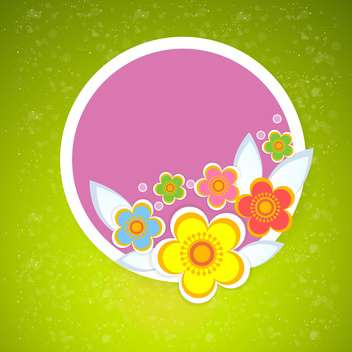 Vector floral frame on green background - vector gratuit #132066