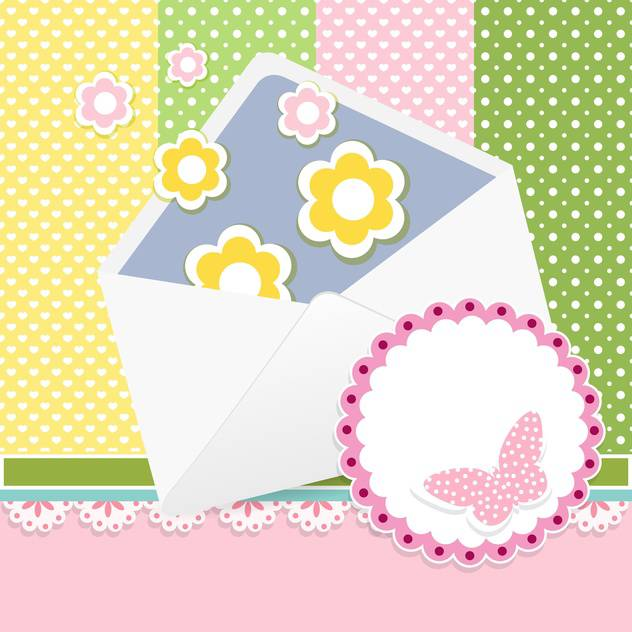 Vector set of cute frames with floral background - Free vector #132096