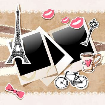 Polaroid frames with Paris doodles on vintage background - vector gratuit #132156
