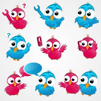 Pink and blue funny birds ,vector illustration - vector gratuit #132176