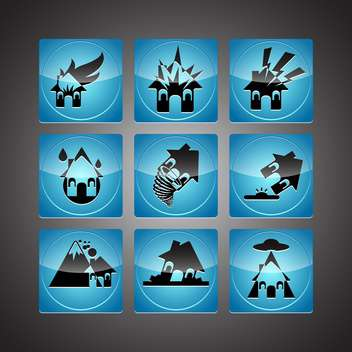 Disasters icons set,vector illustration - vector gratuit #132206